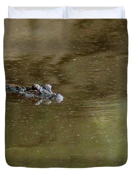 The American Alligator In The Flint River Duvet Cover by Kim Pate