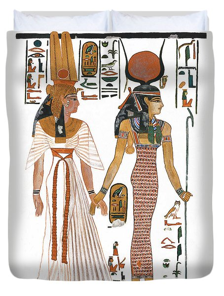 The Ancient Egyptian Goddess Isis Leading Queen Nefertari Duvet Cover by Ben  Morales-Correa