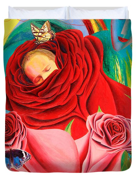 The Angel Of Roses Duvet Cover by Israel Tsvaygenbaum