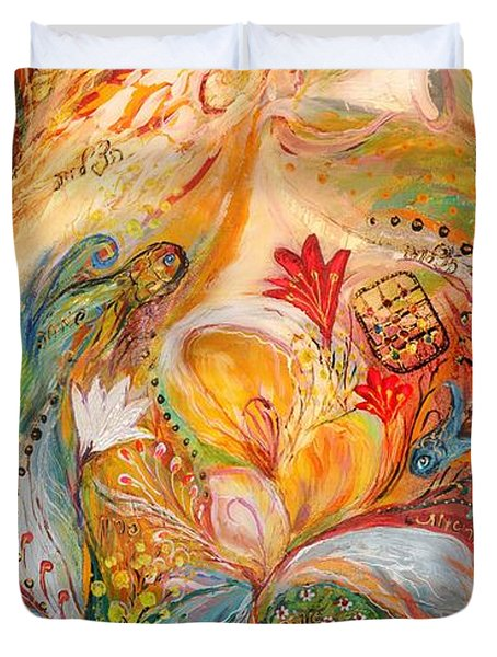 The Angels On Wedding Triptych - Left Side Duvet Cover by Elena Kotliarker