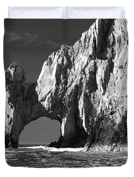 The Arch Cabo San Lucas In Black And White Duvet Cover