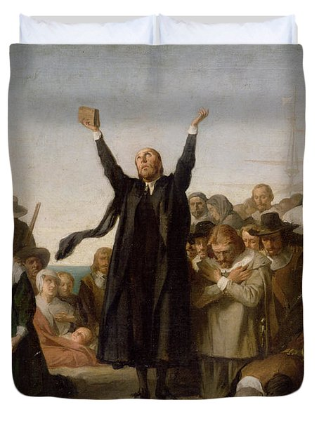 The Arrival Of The Pilgrim Fathers Duvet Cover by Antonio Gisbert