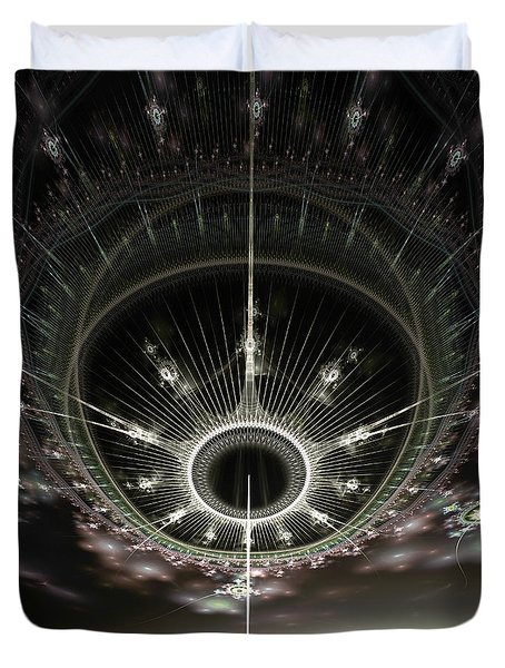Duvet Cover featuring the digital art The Arrival by Richard Ortolano