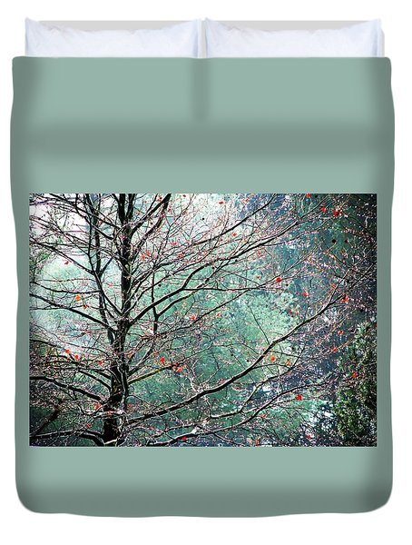 Duvet Cover featuring the photograph The Aura Of Trees by Angela Davies