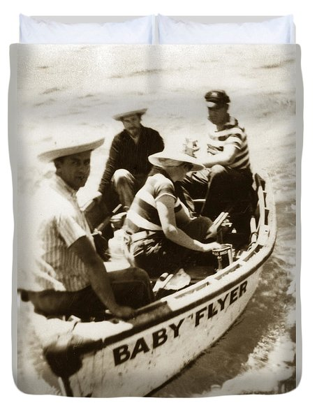 The Baby Flyer With Ed Ricketts And John Steinbeck  In Sea Of Cortez  1940 Duvet Cover