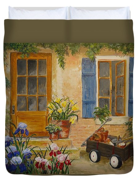 Duvet Cover featuring the painting The Back Door by Marilyn Zalatan