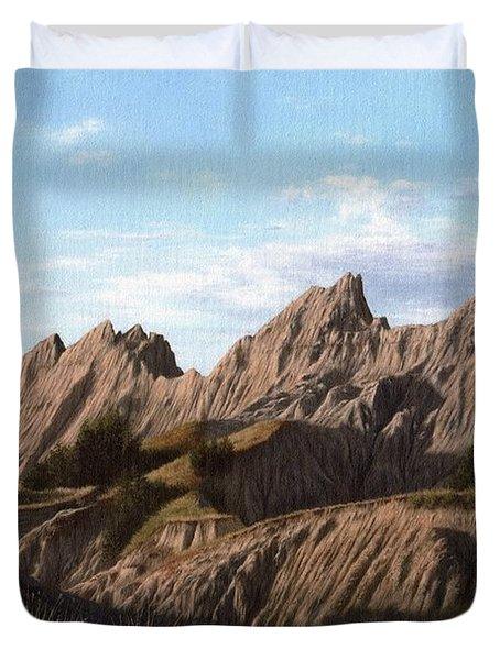 The Badlands In South Dakota Oil Painting Duvet Cover
