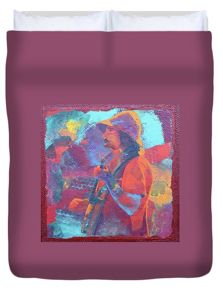 Duvet Cover featuring the painting The Banjo Player by Nancy Jolley
