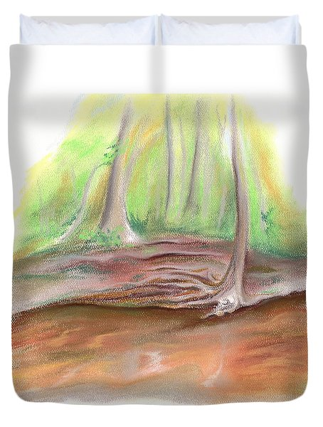 Duvet Cover featuring the pastel The Bank Of Blackwater Creek by MM Anderson