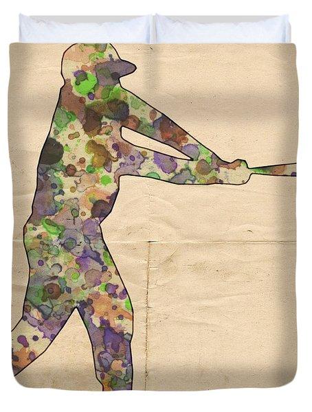 The Baseball Player Duvet Cover by Florian Rodarte