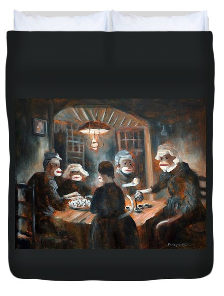 Duvet Cover featuring the painting Tater Eatin by Randol Burns