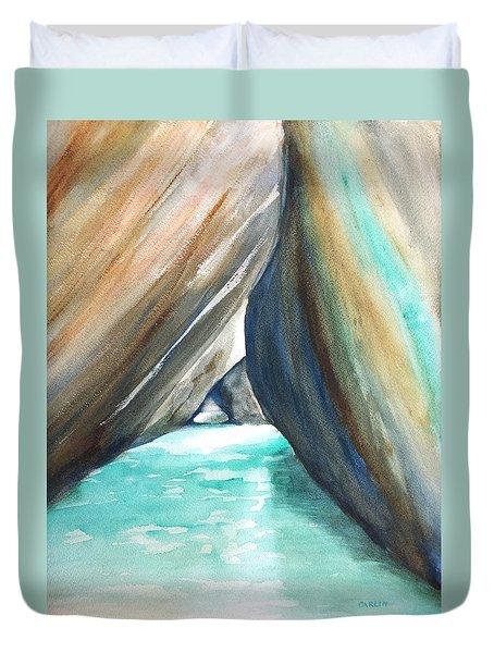 The Baths Turquoise Duvet Cover by Carlin Blahnik