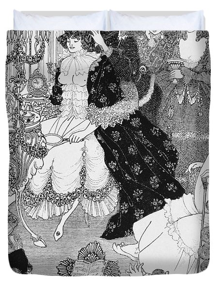 The Battle Of The Beaux And The Belles Duvet Cover by Aubrey Beardsley