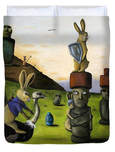 The Battle Over Easter Island Duvet Cover