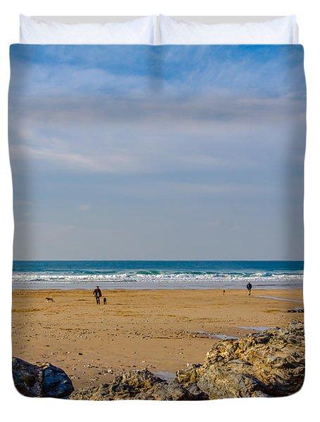 The Beach At Porthtowan Cornwall Duvet Cover by Brian Roscorla