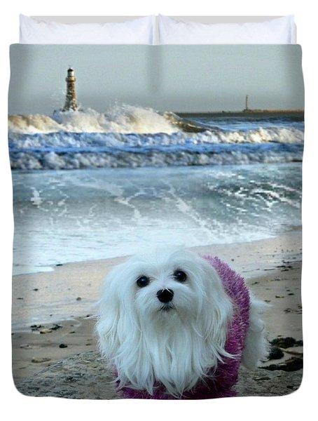 The Beach In Winter Duvet Cover