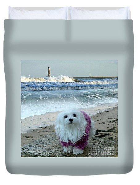 The Beach In Winter Duvet Cover by Morag Bates