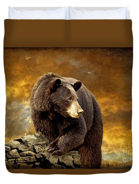 The Bear Went Over The Mountain Duvet Cover by Lois Bryan