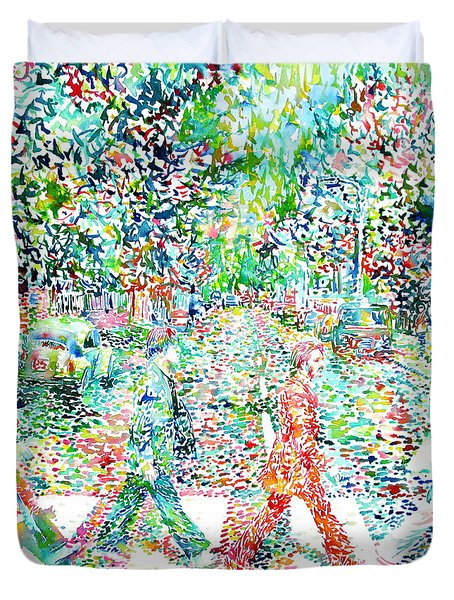 The Beatles - Abbey Road - Watercolor Painting Duvet Cover by Fabrizio Cassetta