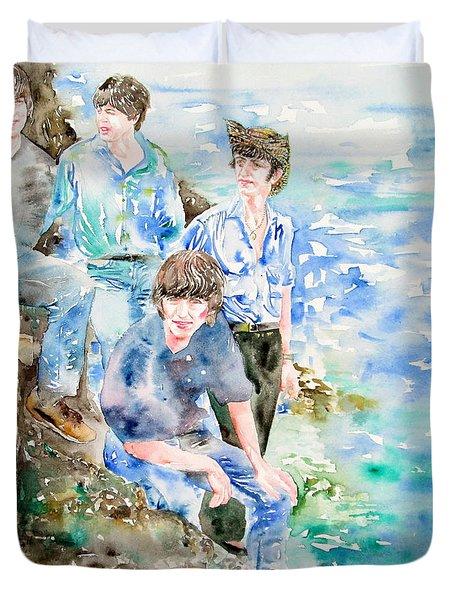 The Beatles At The Sea - Watercolor Portrait Duvet Cover by Fabrizio Cassetta