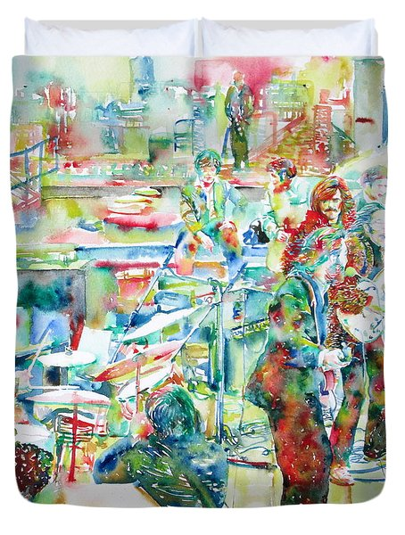 The Beatles Rooftop Concert - Watercolor Painting Duvet Cover