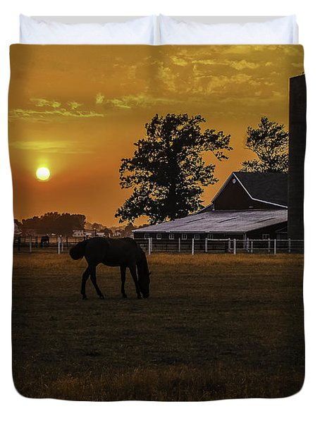 The Beauty Of A Rural Sunset Duvet Cover