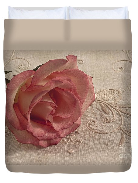 Duvet Cover featuring the photograph The Beauty Of Just One Rose by Sandra Foster