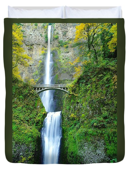 The Beauty Of Multnomah Falls Duvet Cover by Jeff Swan