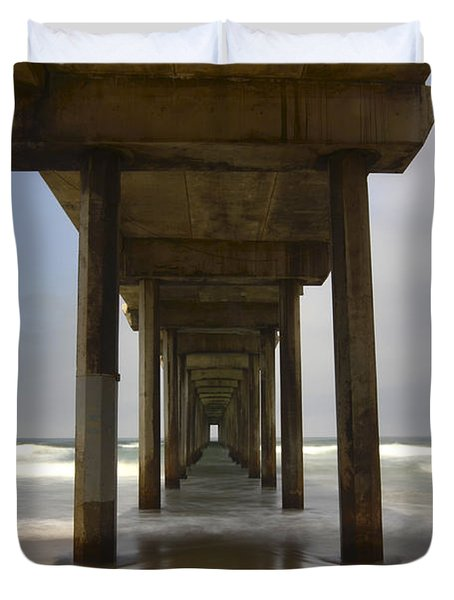 The Beauty Of Scripps Pier California Duvet Cover