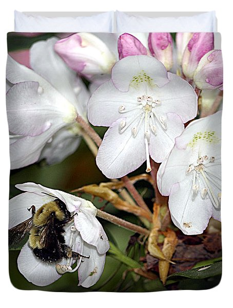 The Bee And The Rhododendron Duvet Cover