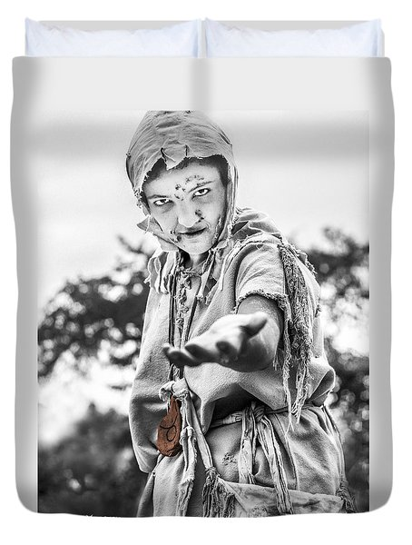 Duvet Cover featuring the photograph The Begging Leprous by Stwayne Keubrick