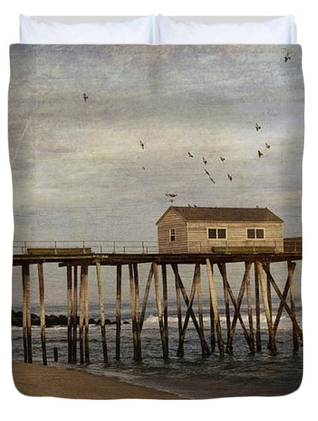Duvet Cover featuring the photograph The Belmar Fishing Club Pier by Debra Fedchin