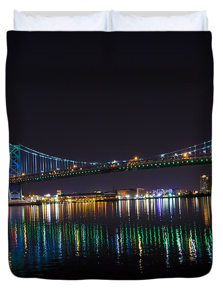 The Ben Franklin Bridge At Night Duvet Cover by Bill Cannon