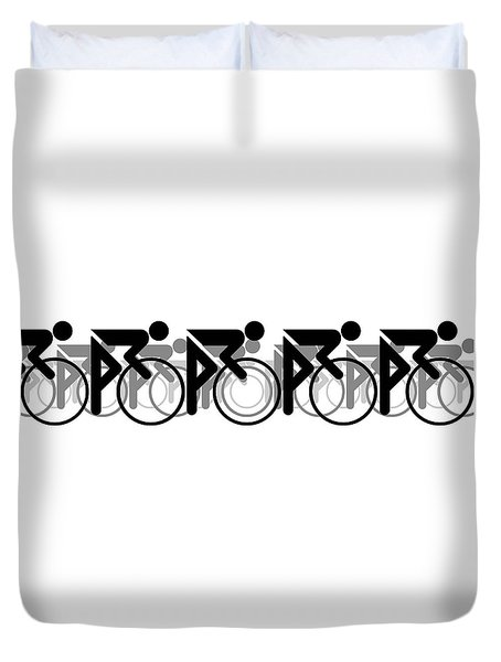 Duvet Cover featuring the digital art The Bicycle Race 2 White by Brian Carson
