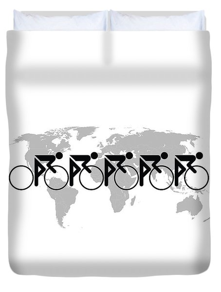 The Bicycle Race 3 Duvet Cover