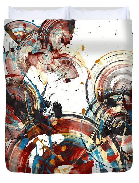 Duvet Cover featuring the painting The Big Bang by Kris Haas