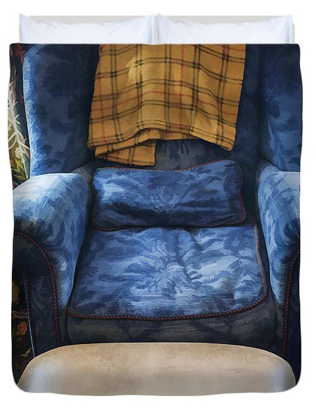 The Big Blue Chair - Oil Duvet Cover by Edward Fielding