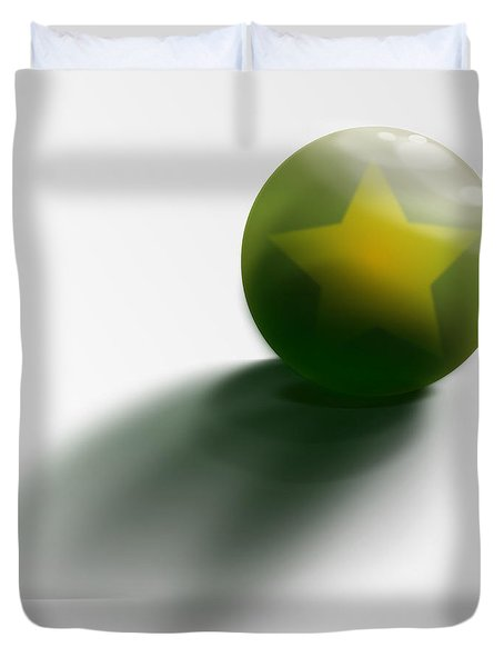 Duvet Cover featuring the digital art Green Ball Decorated With Star White Background by R Muirhead Art
