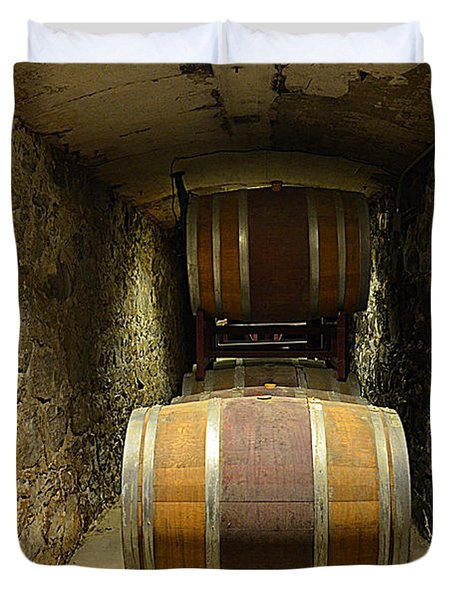 The Biltmore Estate Wine Barrels Duvet Cover by Luther Fine Art