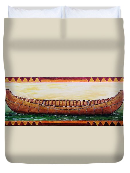 The Birch Bark Canoe Duvet Cover by Mike Caitham