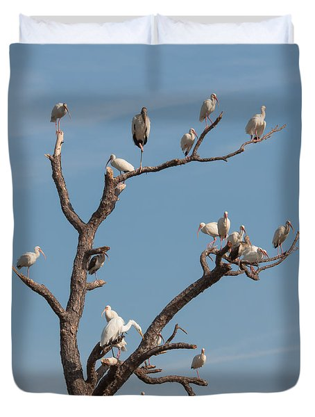 Duvet Cover featuring the photograph The Bird Tree by John M Bailey