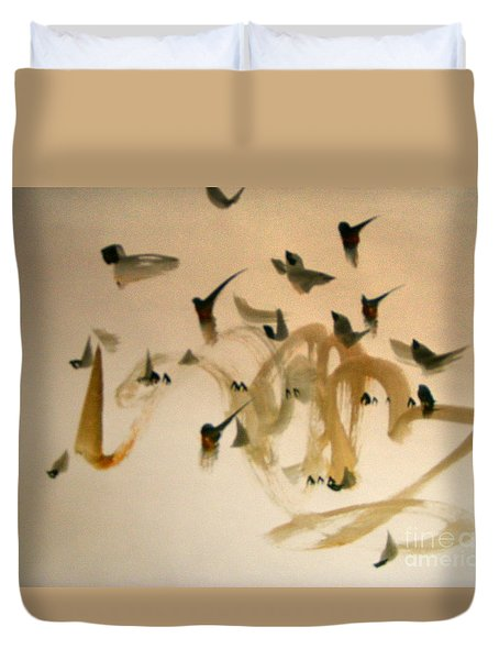 Duvet Cover featuring the painting The Birds by Nancy Kane Chapman