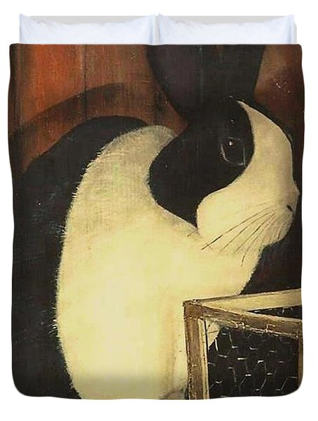 The Black And White Dutch Rabbit  2 Duvet Cover