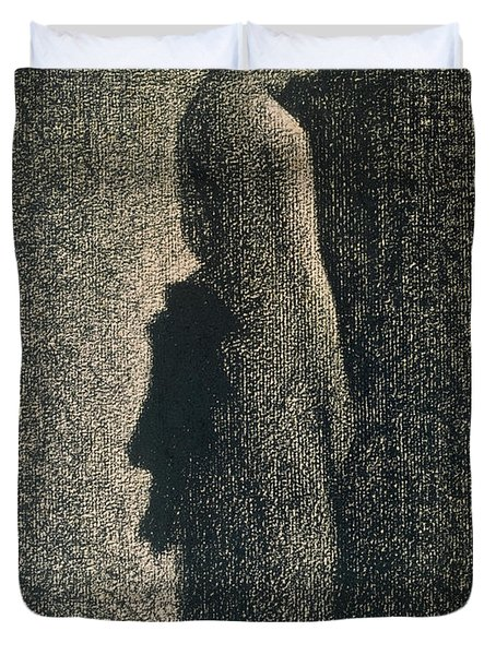 The Black Bow Duvet Cover by Georges Pierre Seurat
