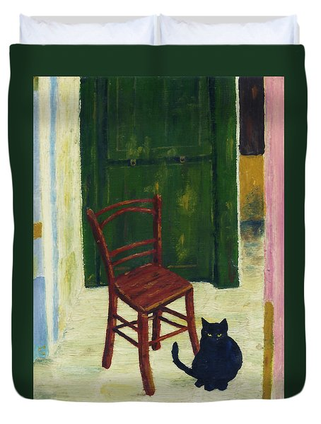 The  Black Cat Duvet Cover by Hartmut Jager