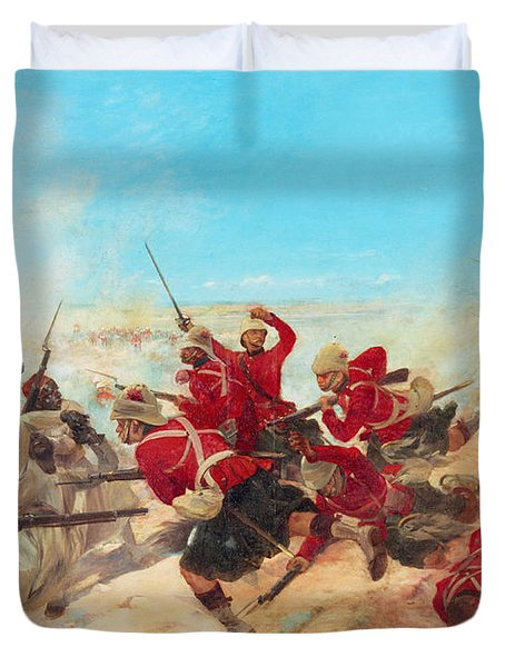 The Black Watch At The Battle Duvet Cover by Henri-Louis Dupray