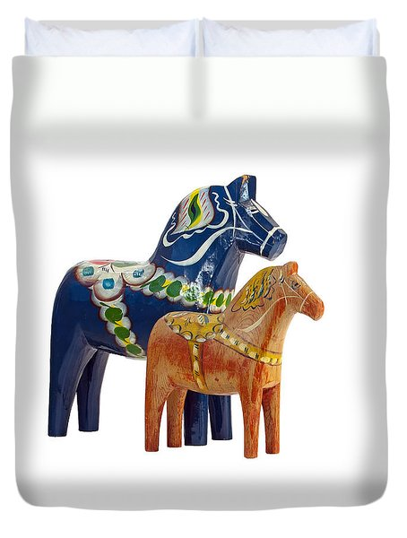 The Blue And Red Dala Horse Duvet Cover by Torbjorn Swenelius