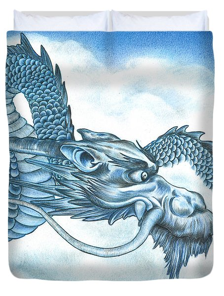 Duvet Cover featuring the drawing The Blue Dragon by Troy Levesque