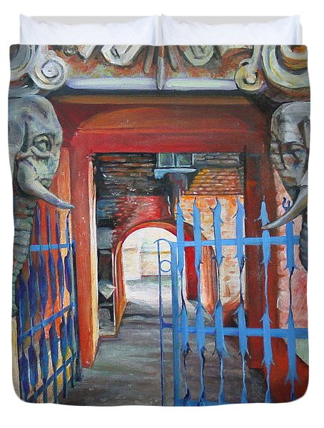 Duvet Cover featuring the painting The Blue Gate by Marina Gnetetsky