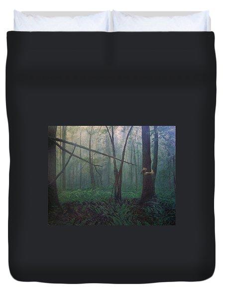 The Blue-green Forest Duvet Cover by Derek Van Derven